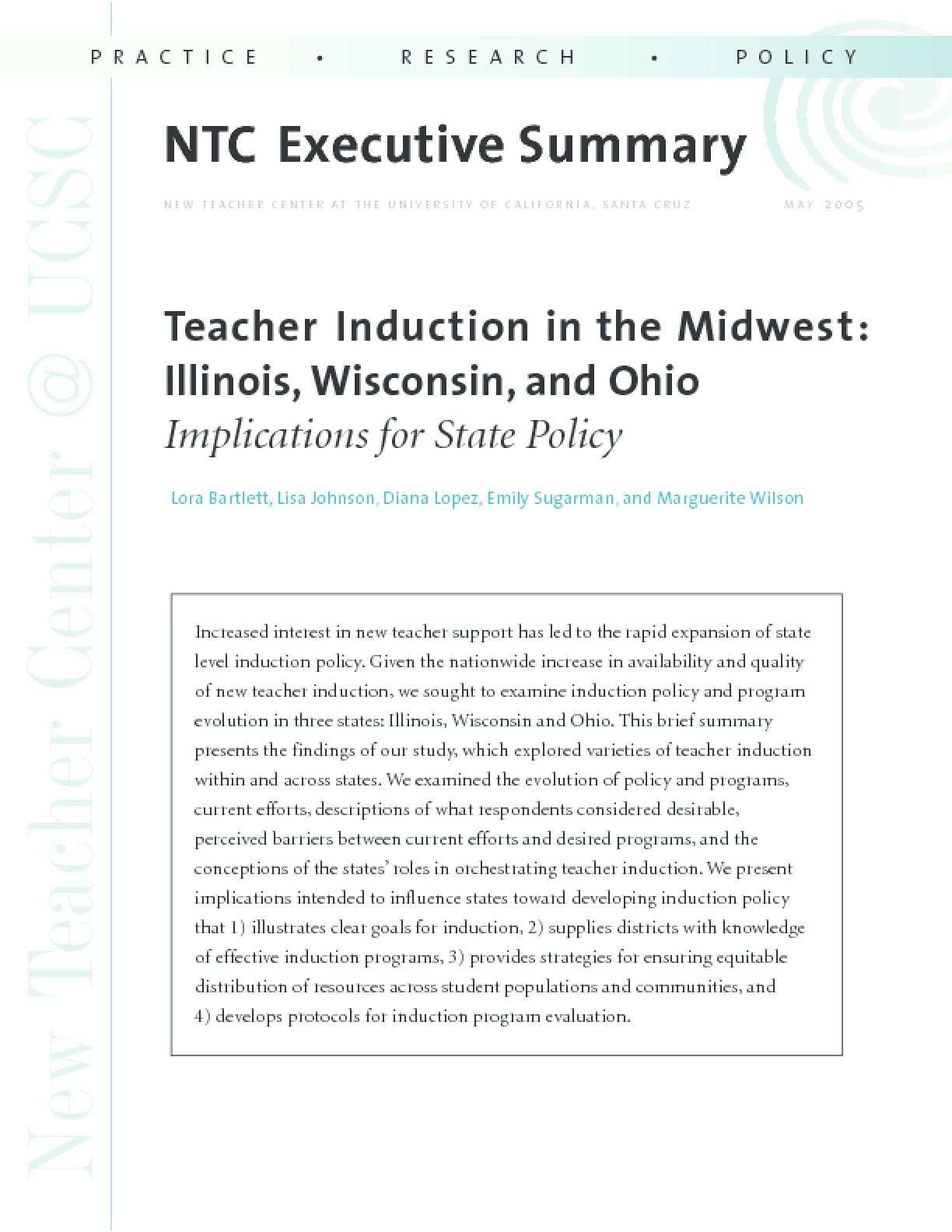 Teacher Induction in the Midwest: Illinois, Wisconsin, and Ohio: Implications for State Policy