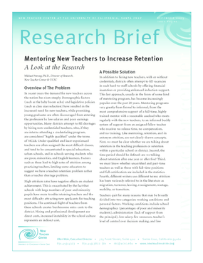 Mentoring New Teachers to Increase Retention: A Look at the Research