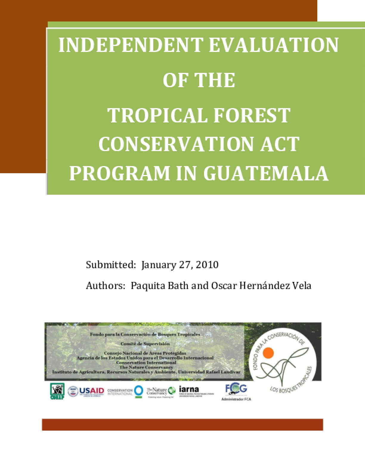 Independent Evaluation of the Tropical Forest Conservation Act Program in Guatemala