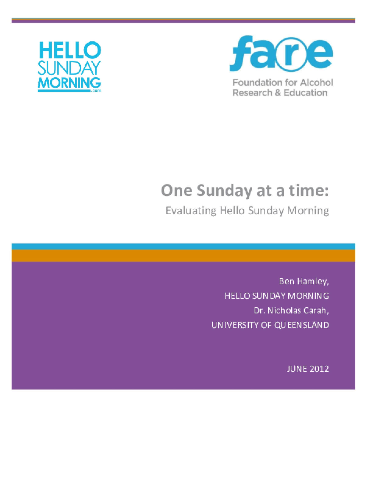 One Sunday at a Time: Evaluating Hello Sunday Morning