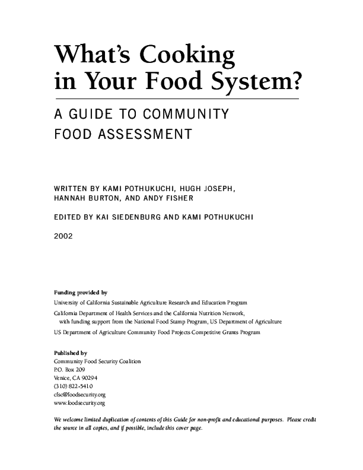 What's Cooking in Your Food System? A Guide to Community Food Assessment