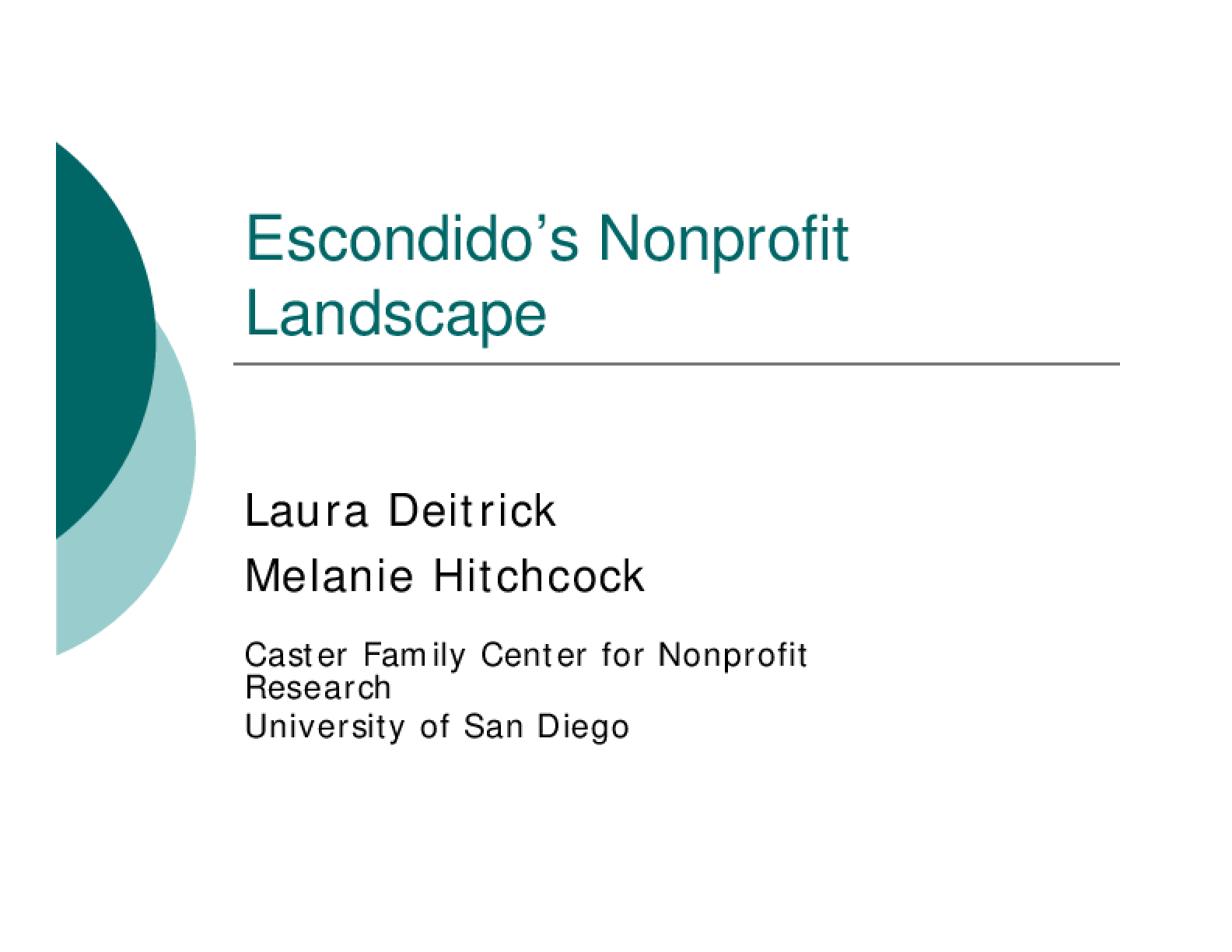 A Snapshot of Escondido's Nonprofit Sector