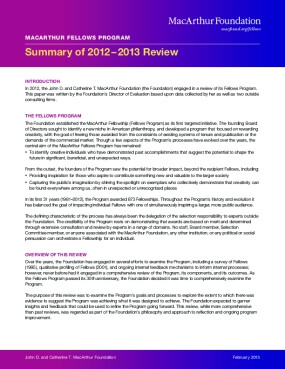 MacArthur Fellows Program: Summary of 2012–2013 Review