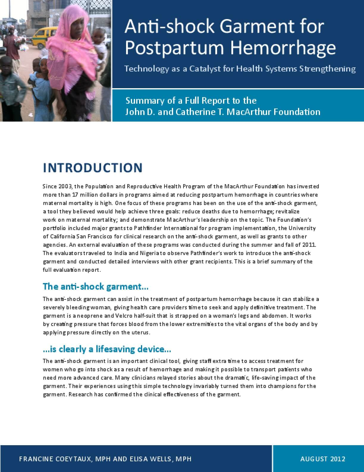 Summary Report: Anti-shock Garment for Postpartum Hemorrhage: Technology as a Catalyst for Health Systems Strengthening