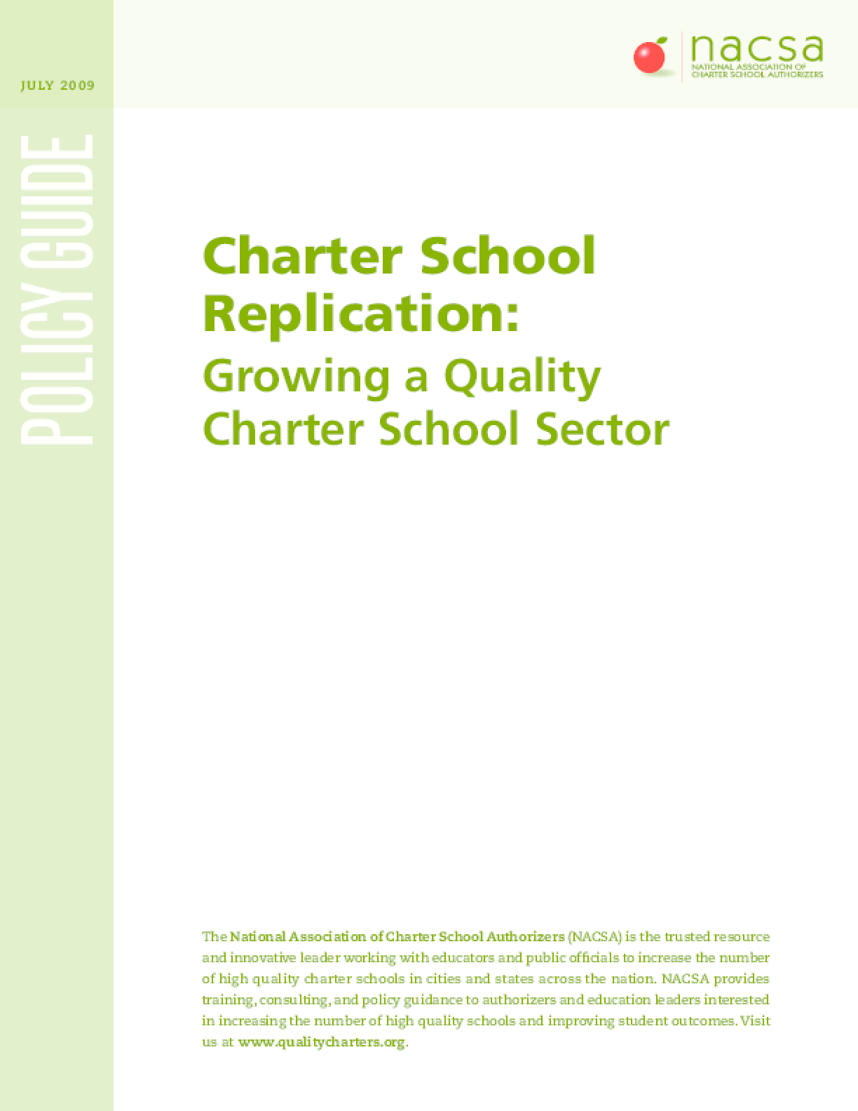 Charter School Replication: Growing a Quality Charter School Sector
