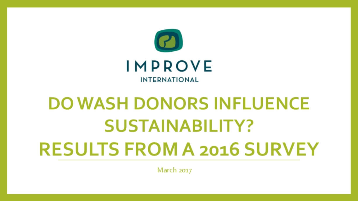 Do WASH Donors Influence Sustainability? Results From a 2016 Survey