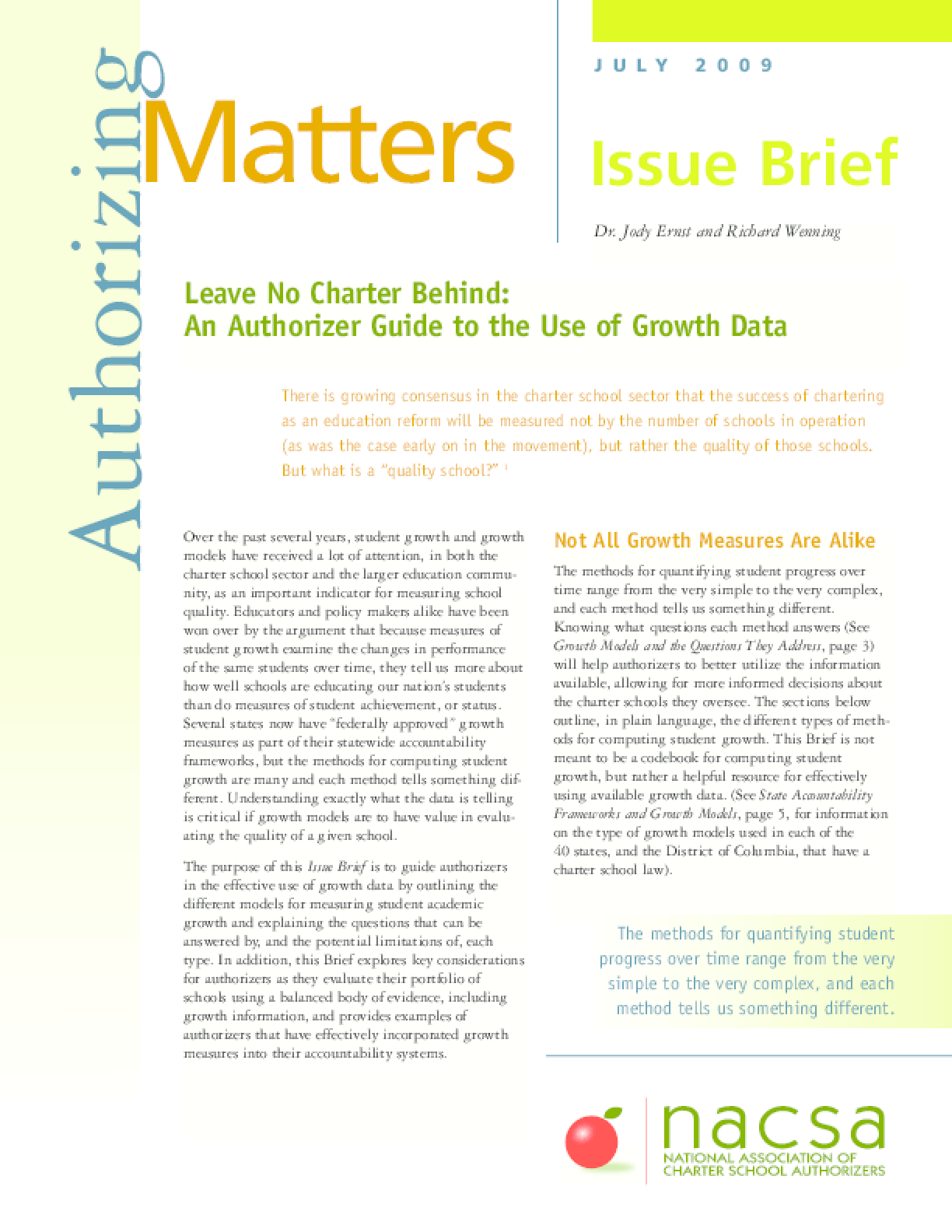 Leave No Charter Behind: An Authorizer Guide to the Use of Growth Data