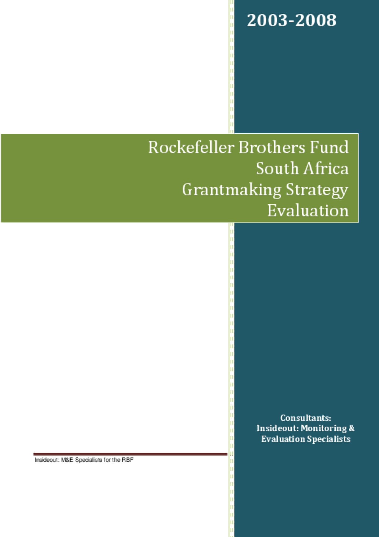 Rockefeller Brothers Fund South Africa Grantmaking Strategy Evaluation