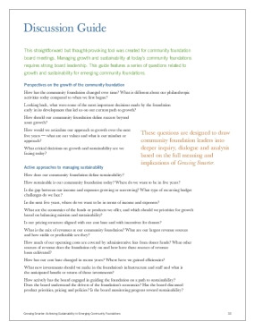 Growing Smarter: Achieving Sustainability in Emerging Community Foundations: Discussion Guide
