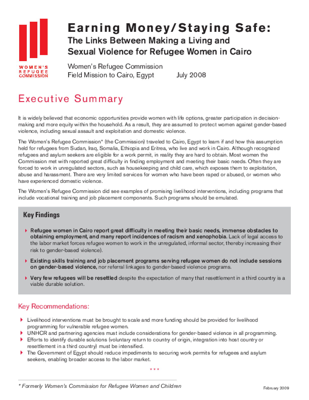 Earning Money/Staying Safe: The Links Between Making a Living and Sexual Violence for Refugee Women in Cairo