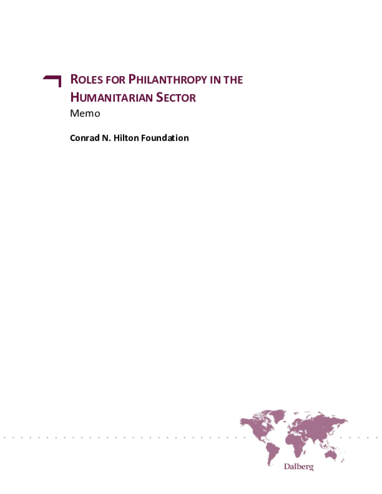 Roles for Philanthropy in the Humanitarian Sector: Memo