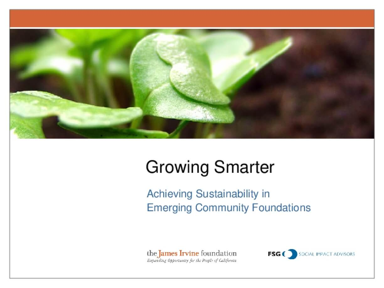 Growing Smarter: Achieving Sustainability in Emerging Community Foundations - Board Presentation