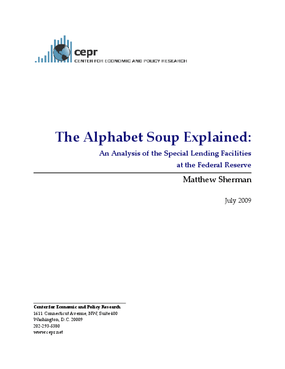 The Alphabet Soup Explained: An Analysis of the Special Lending Facilities at the Federal Reserve