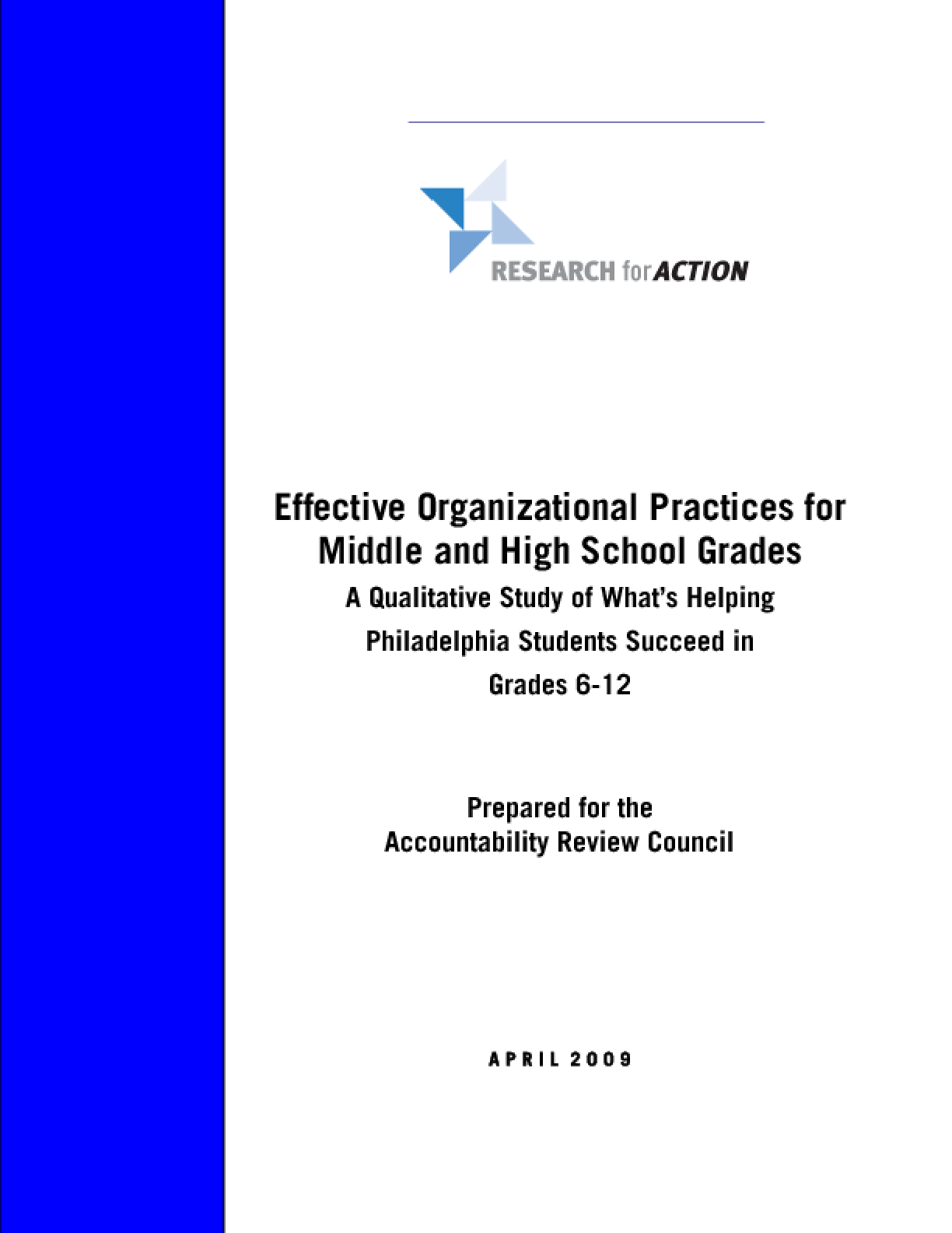 Effective Organizational Practices for Middle and High School Grades