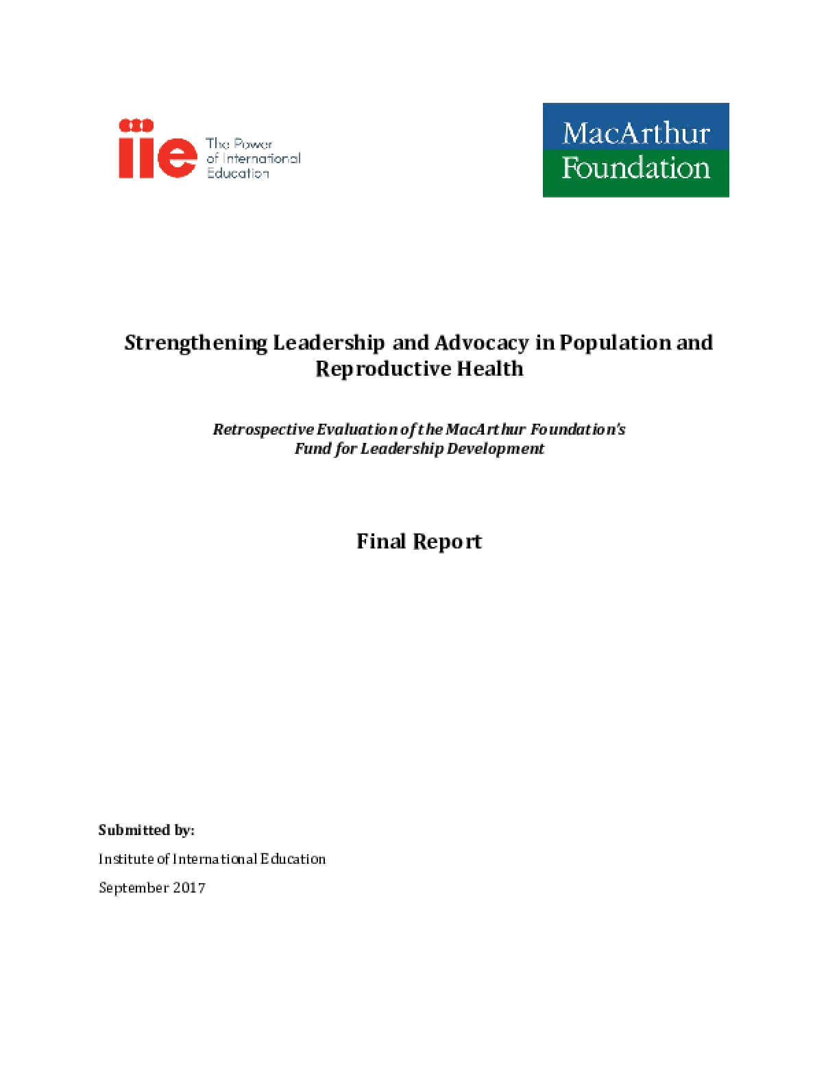 Strengthening Leadership and Advocacy in Population and Reproductive Health