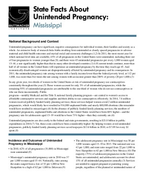State Facts About Unintended Pregnancy: Mississippi