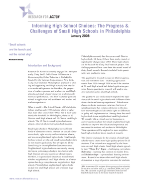 Informing High School Choices: The Progress & Challenges of Small High Schools in Philadelphia