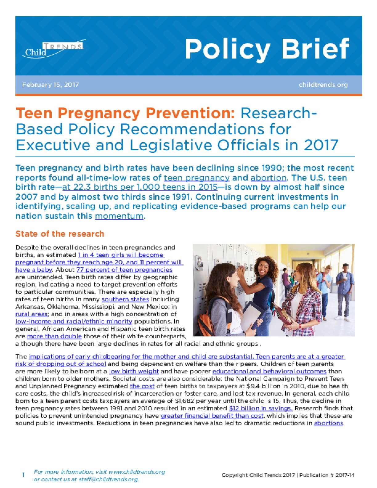 Teen Pregnancy Prevention: Research-Based Policy Recommendations for Executive and Legislative Officials in 2017