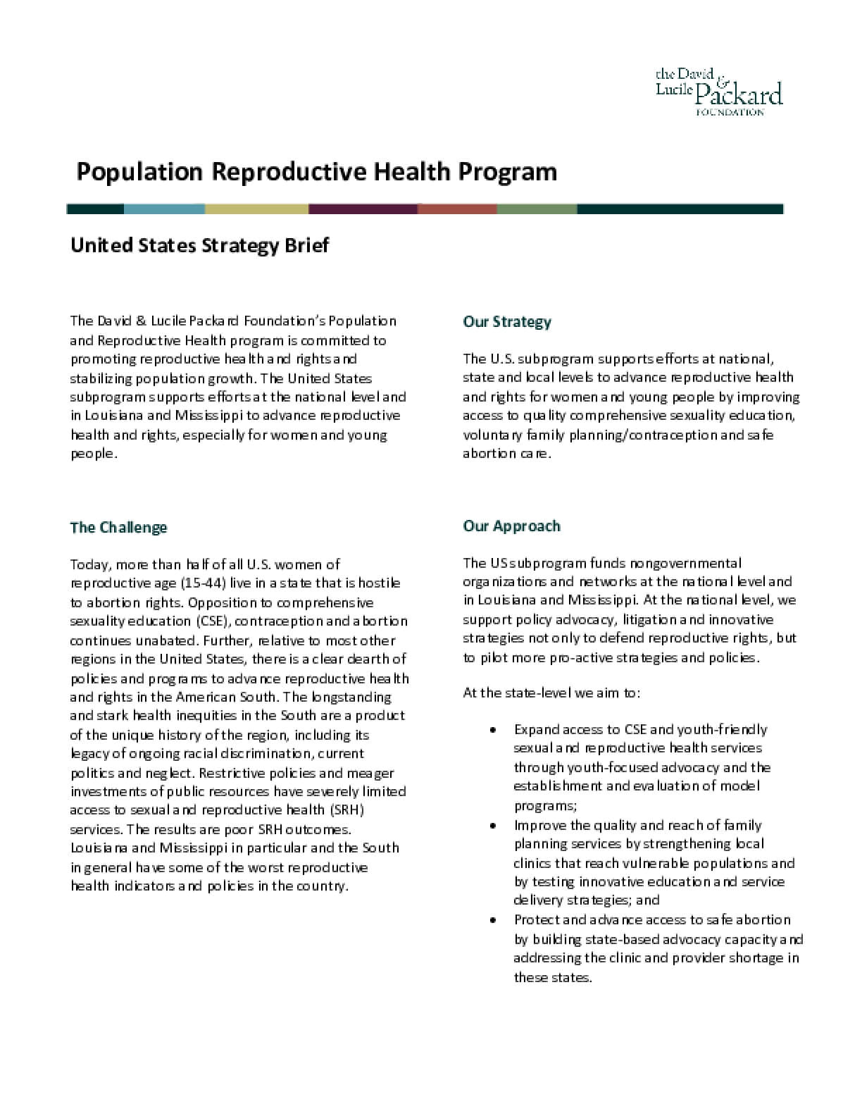 Population Reproductive Health Program: United States Strategy Brief