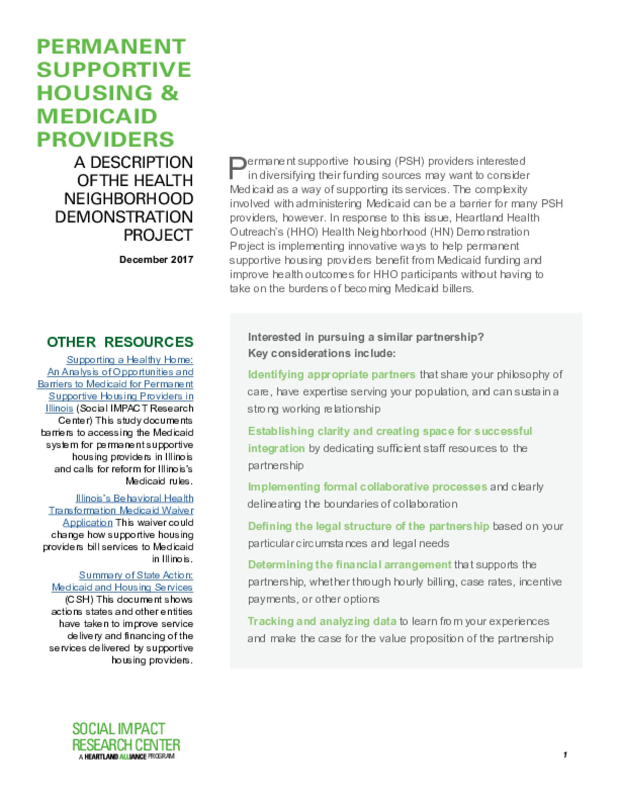 Permanent Supportive Housing & Medicaid Providers A description Of the health Neighborhood Demonstration Project