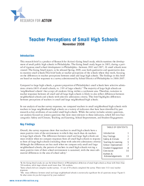 Teacher Perceptions of Small High Schools