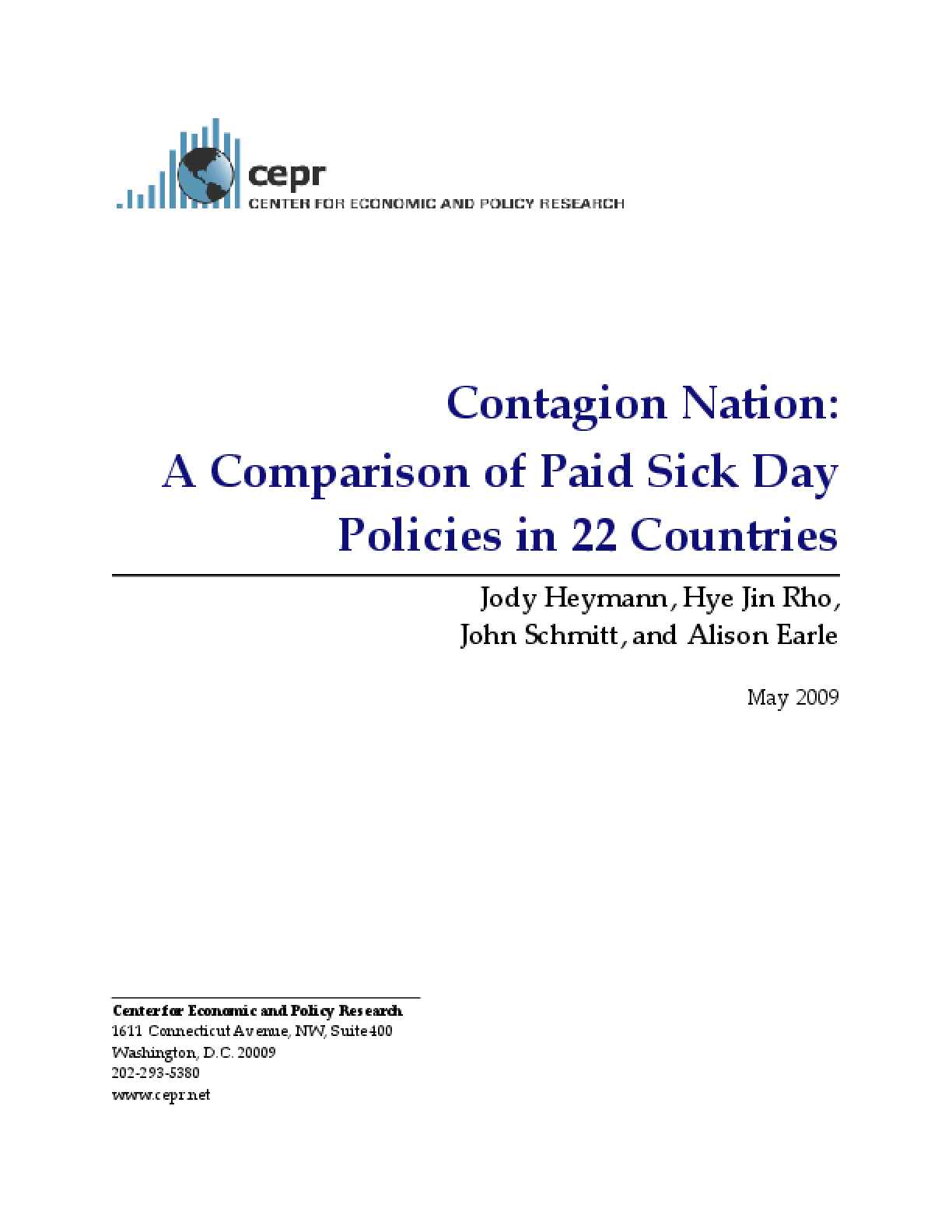 Contagion Nation: A Comparison of Paid Sick Day Policies in 22 Countries