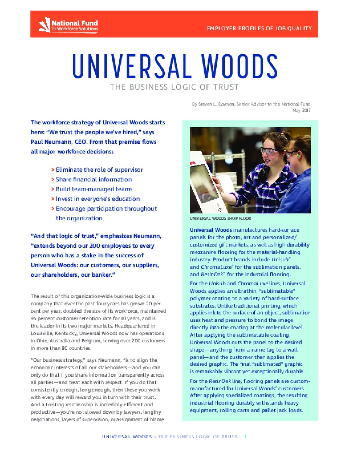 Universal Woods: Business Logic of Trust