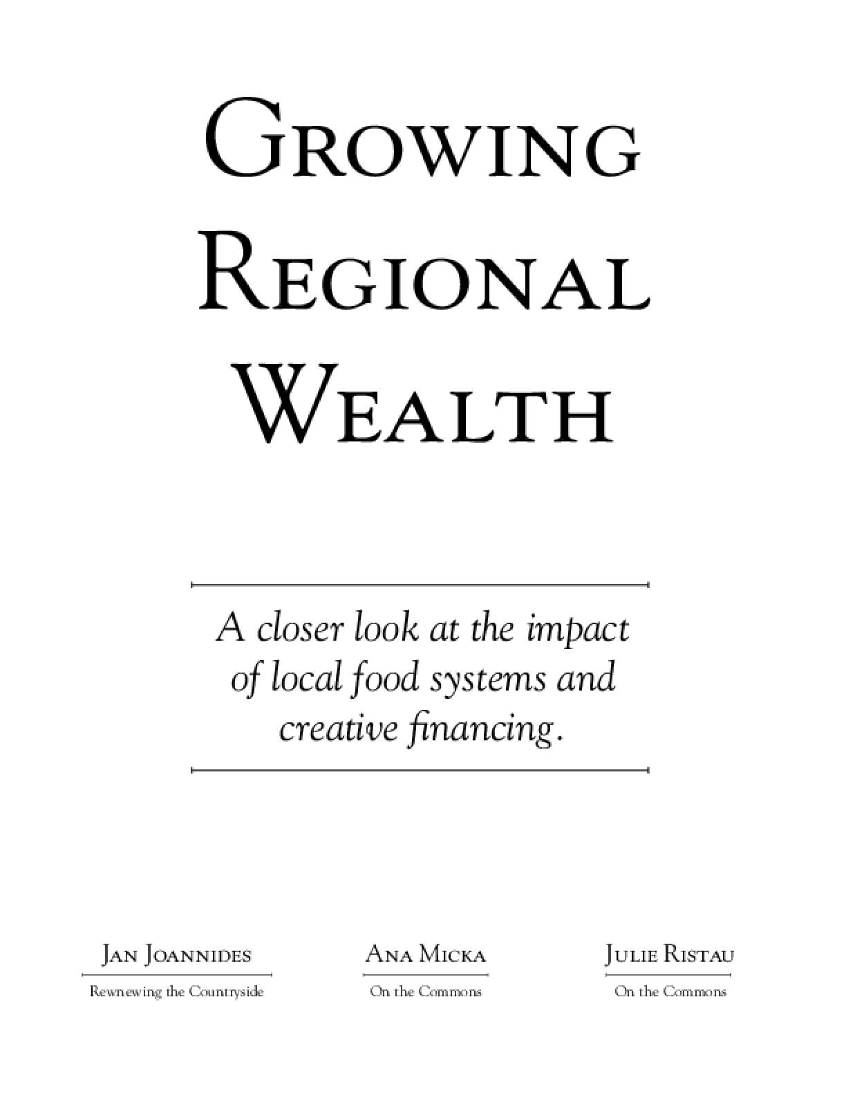 Growing Regional Wealth