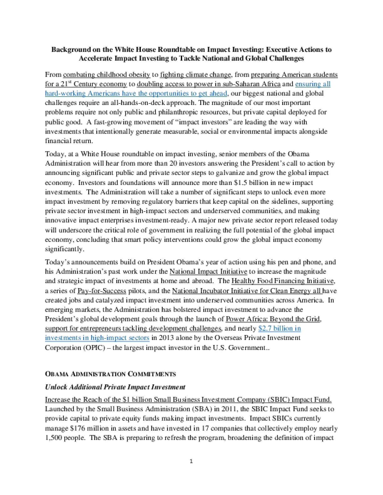 Background on the White House Roundtable on  Impact Investing: Executive Actions to  Accelerate Impact Investing to Tackle National and Global Challenges