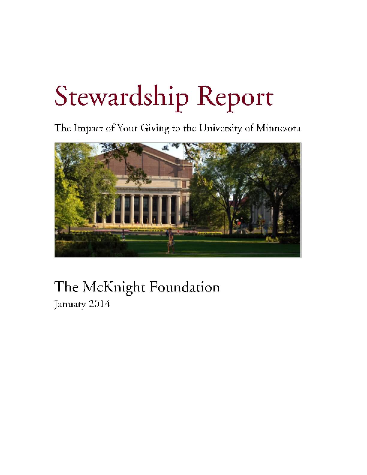 Stewardship Report from University of Minnesota: The Impact of Your Giving