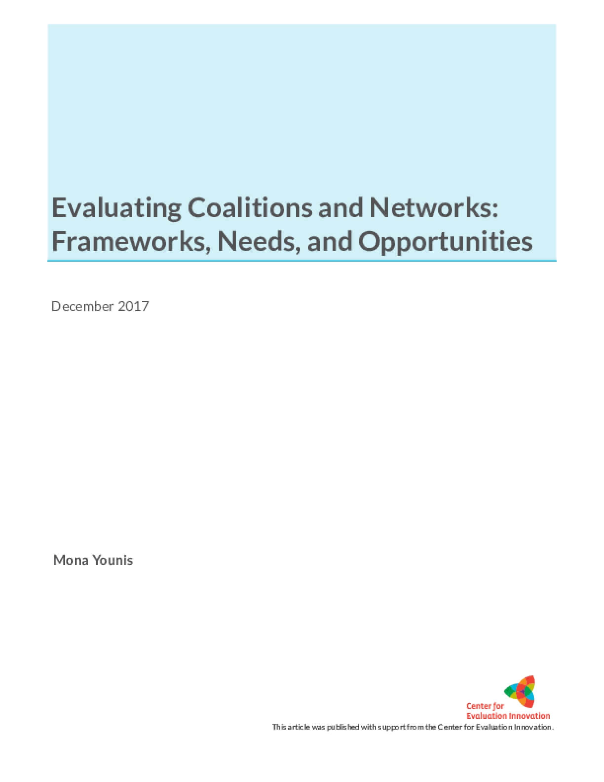 Evaluating Coalitions and Networks: Frameworks, Needs, and Opportunities