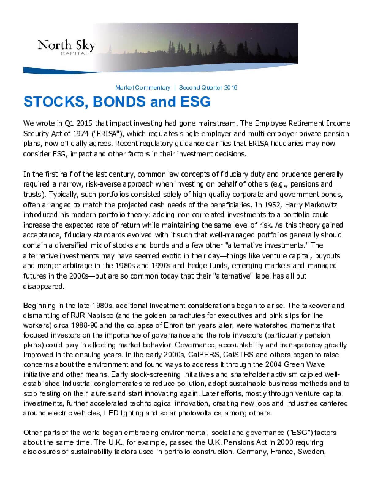 Stocks, Bonds and ESG