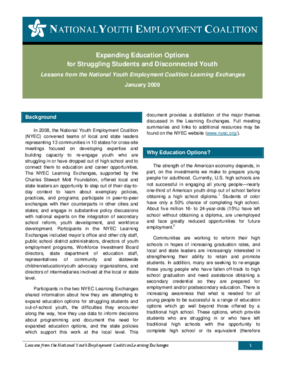 Expanding Education Options for Struggling Students and Disconnected Youth: Lessons from the National Youth Employment Coalition Learning Exchanges