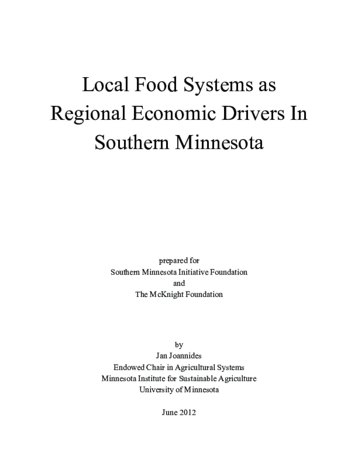 Local Food Systems as Regional Economic Drivers In Southern Minnesota