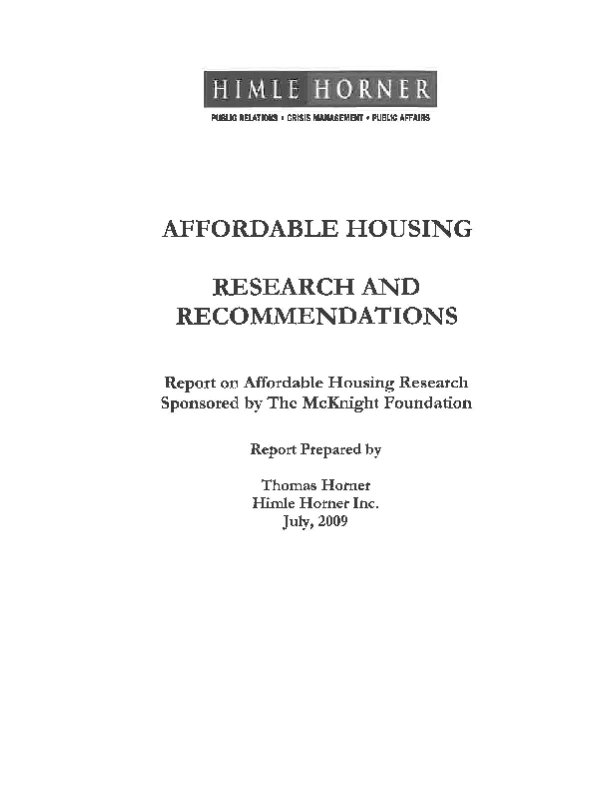Affordable Housing Research and Recommendations