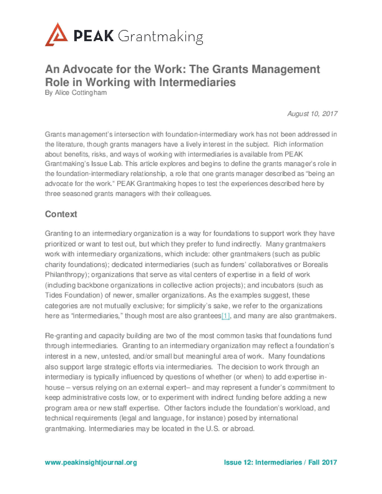 An Advocate for the Work: The Grants Management Role in Working with Intermediaries