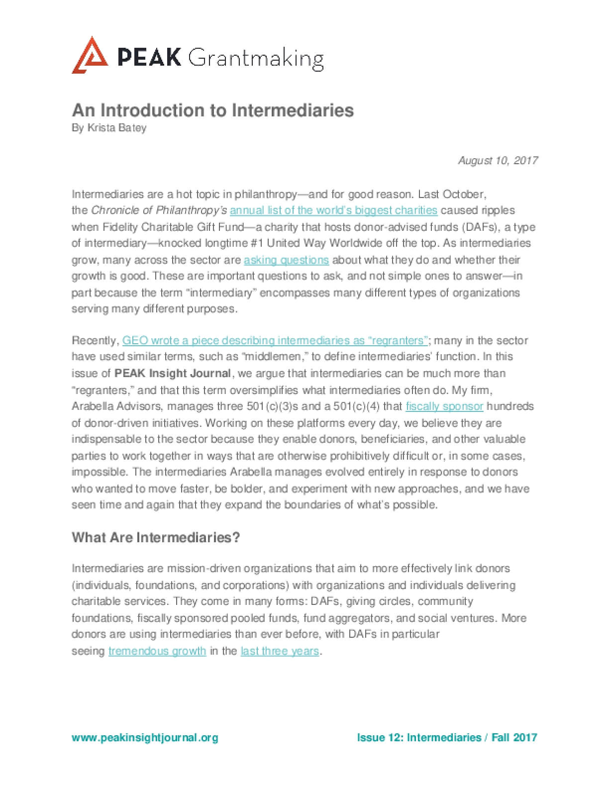 An Introduction to Intermediaries
