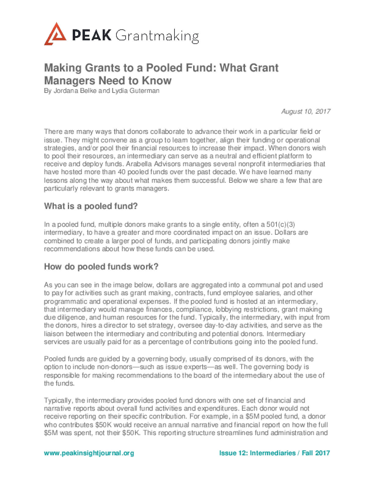 Making Grants to a Pooled Fund: What Grant Managers Need to Know