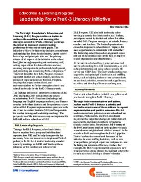 Leadership For a PreK-3 Literacy Initiative
