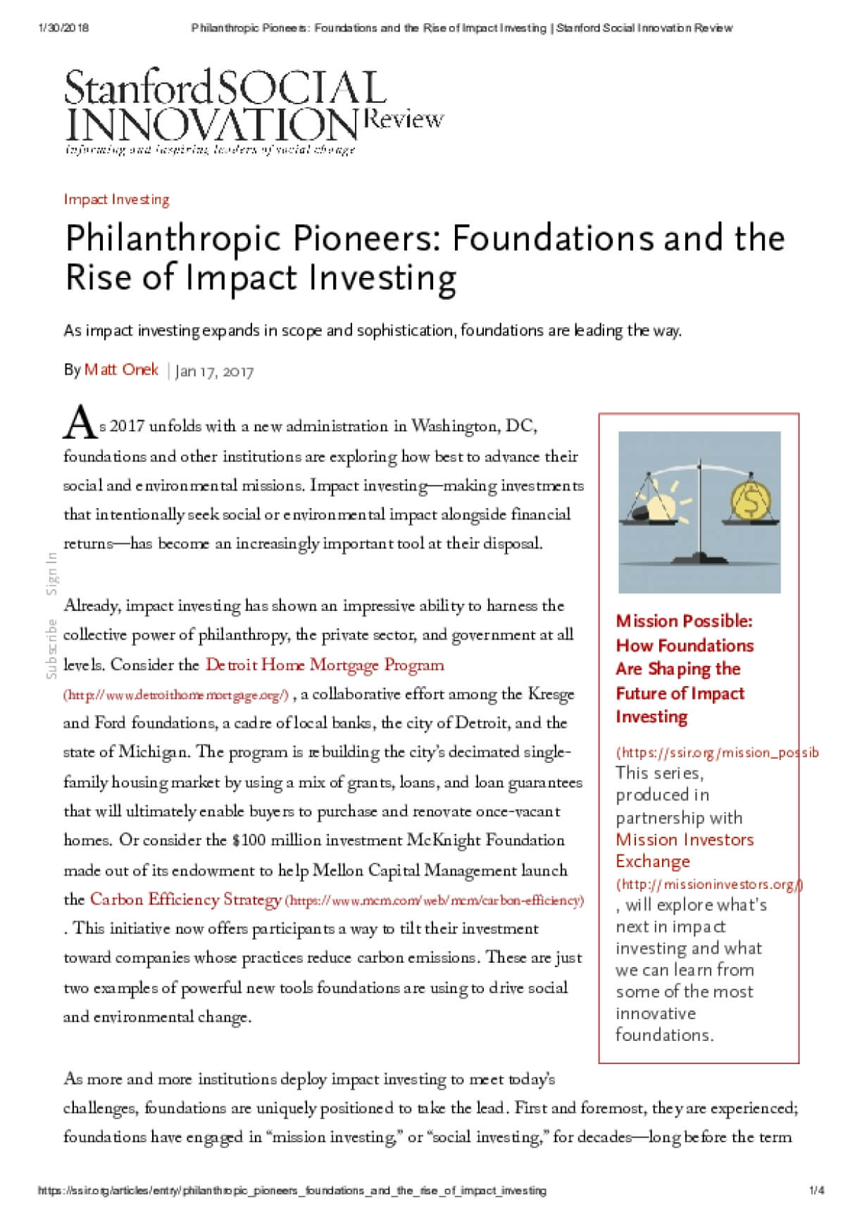 Philanthropic Pioneers: Foundations and the Rise of Impact Investing