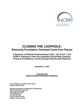 Closing the Loophole: Removing Foundation Overhead Costs from Payout