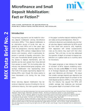 Microfinance and Small Deposit Mobilization: Fact or Fiction?