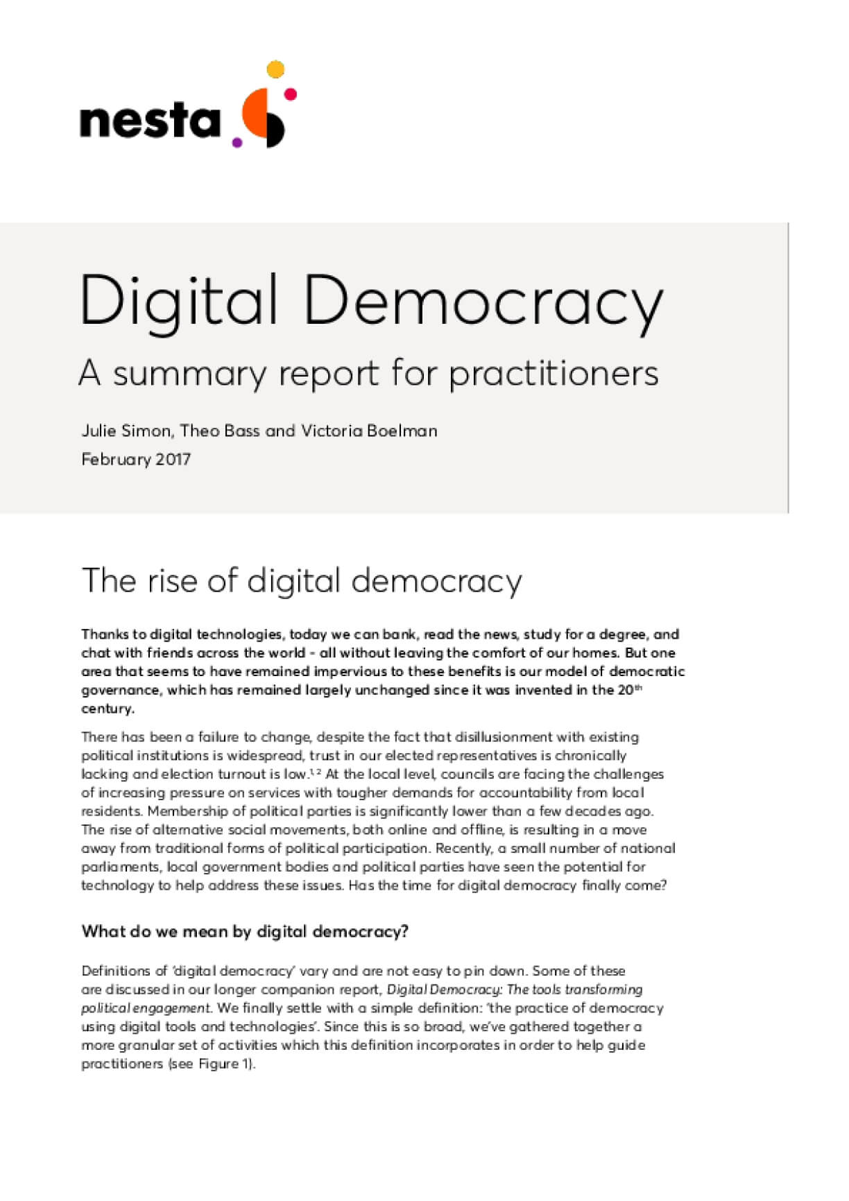 Digital Democracy A summary report for practitioners