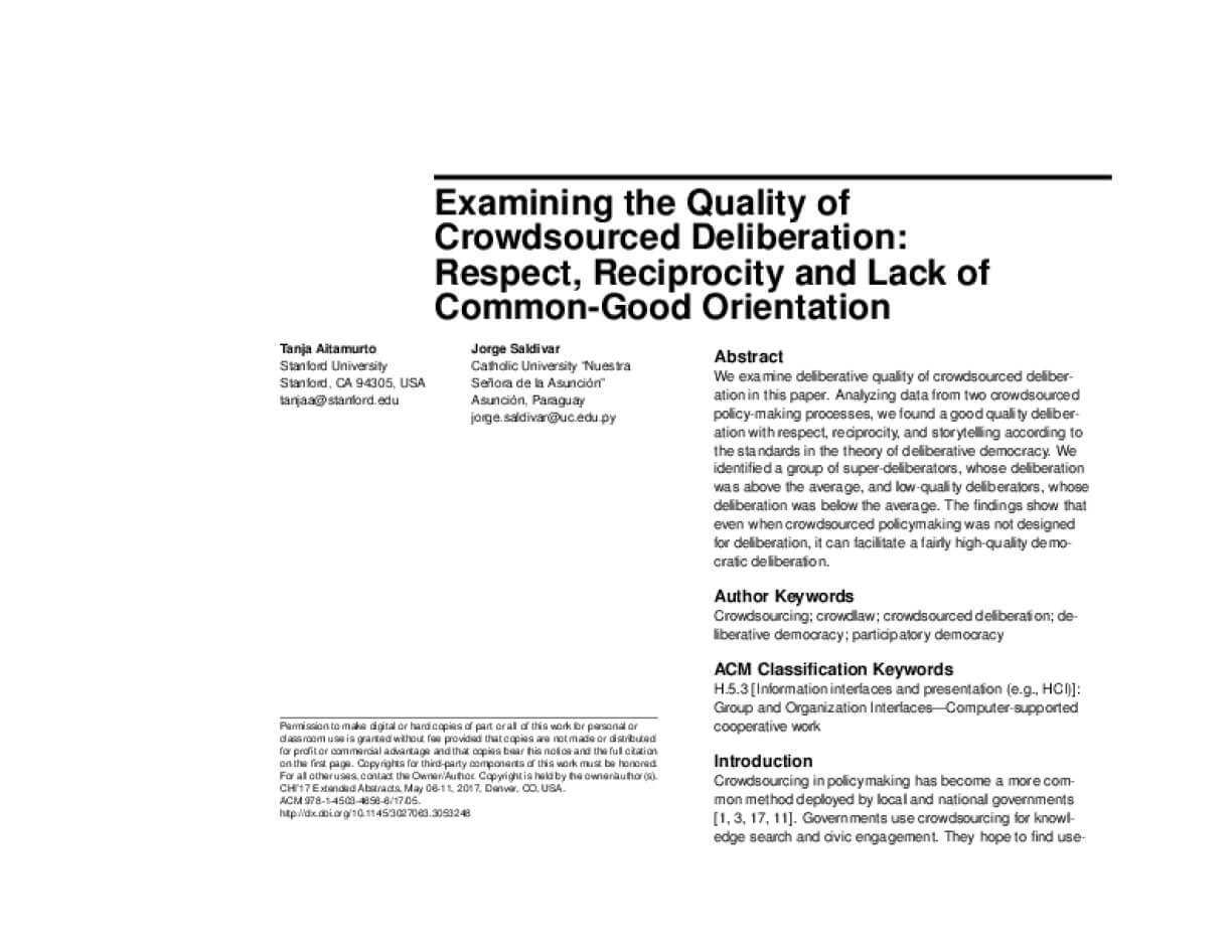 Examining the Quality of Crowdsourced Deliberation: Respect, Reciprocity and Lack of Common-Good Orientation