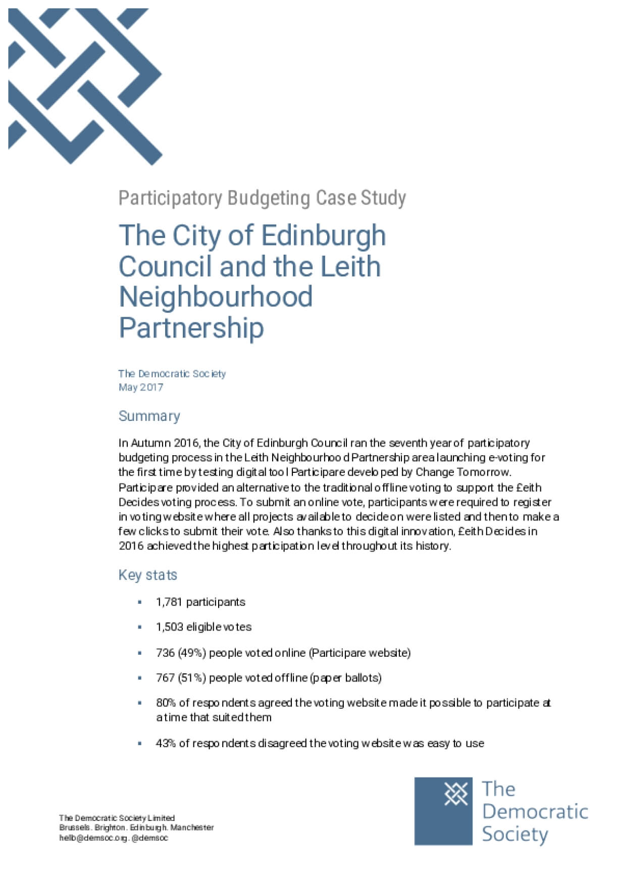 Participatory Budgeting Case Study: The City of Edinburgh Council and the Leith Neighbourhood Partnership