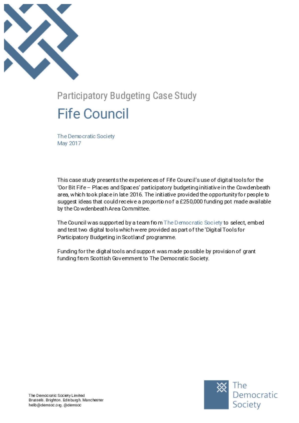 Participatory Budgeting Case Study: Fife Council