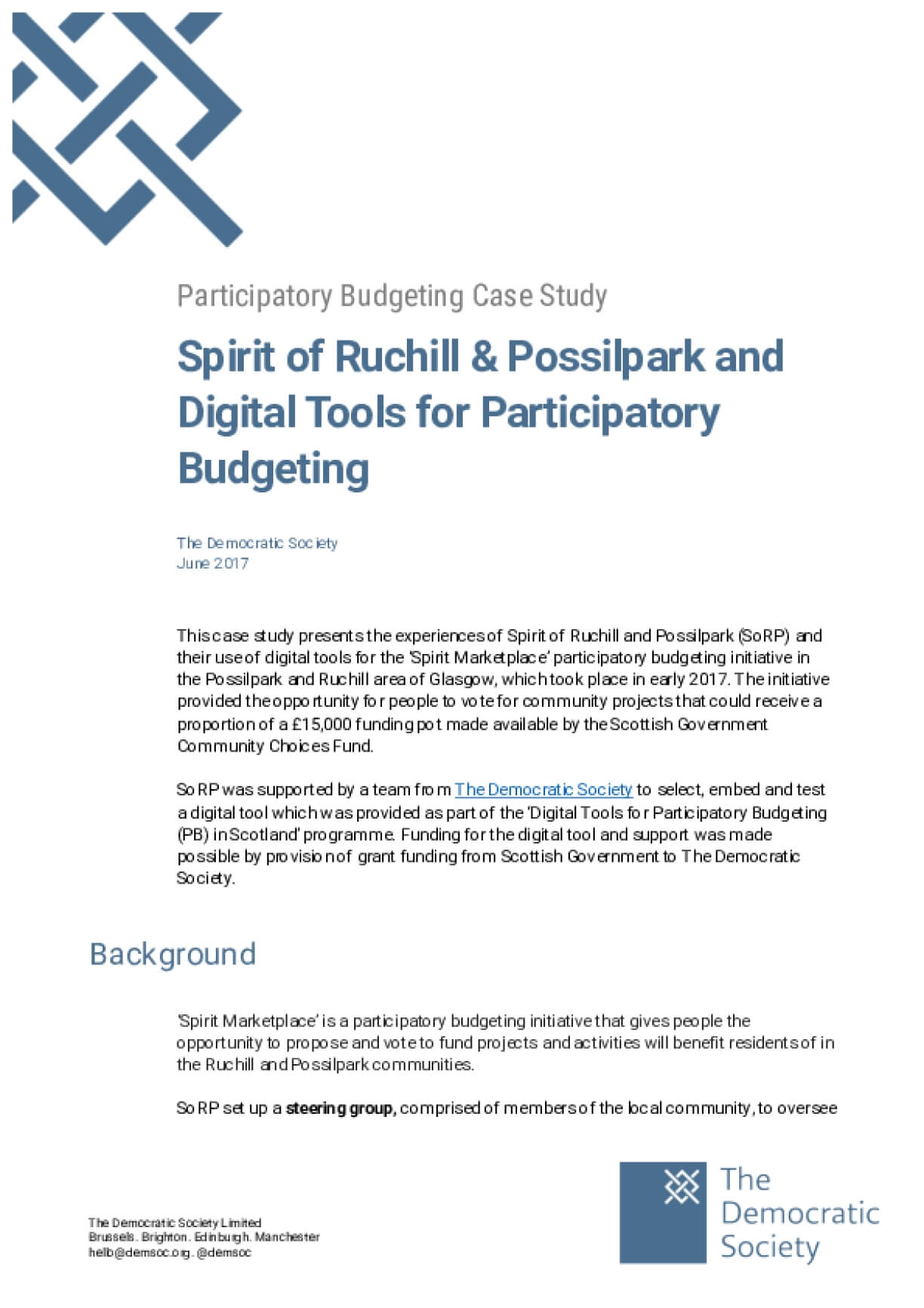 Participatory Budgeting Case Study: Spirit of Ruchill & Possilpark and Digital Tools for Participatory Budgeting