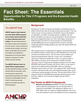 The Essentials Opportunities for Title V Programs and the Essential Health  Benefits
