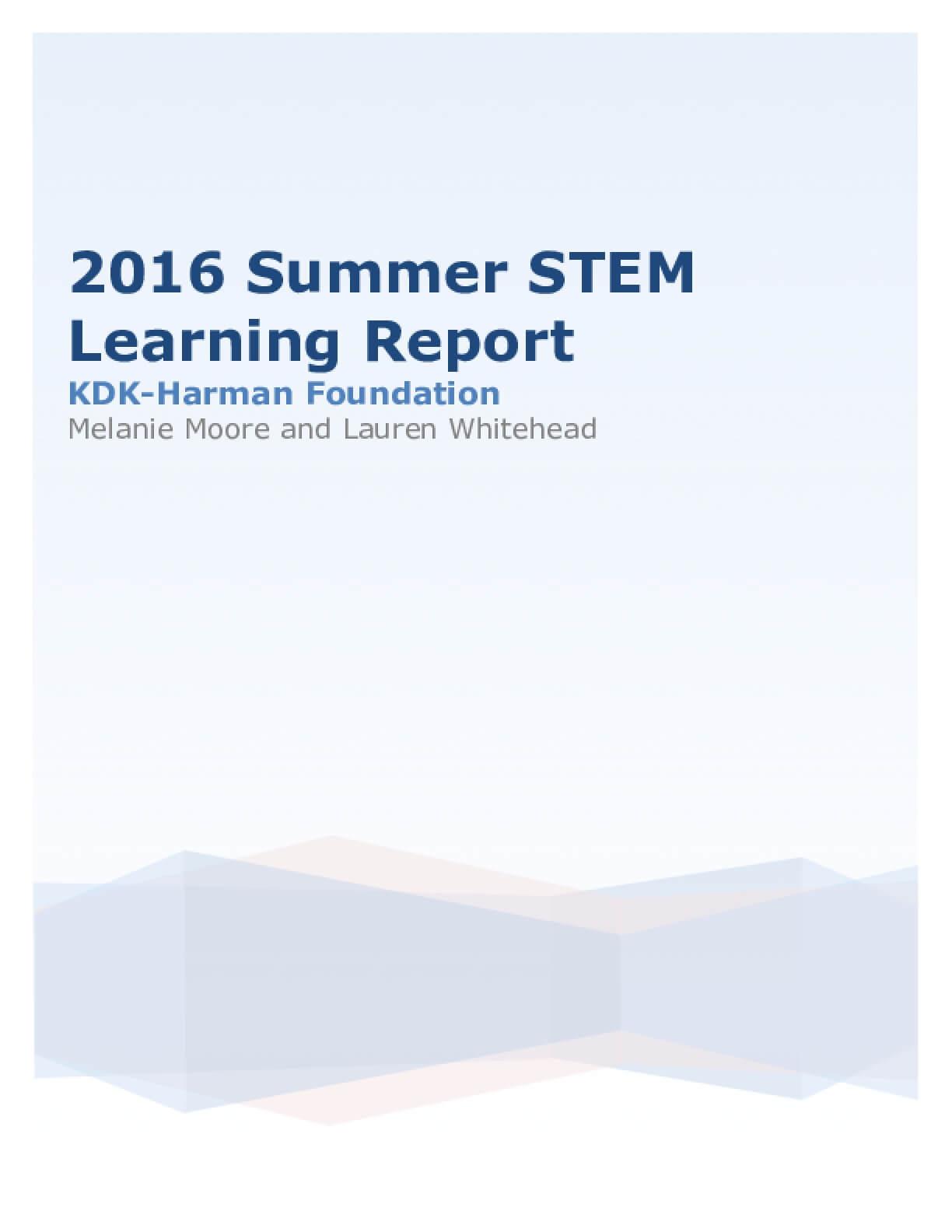 2016 Summer STEM Learning Report