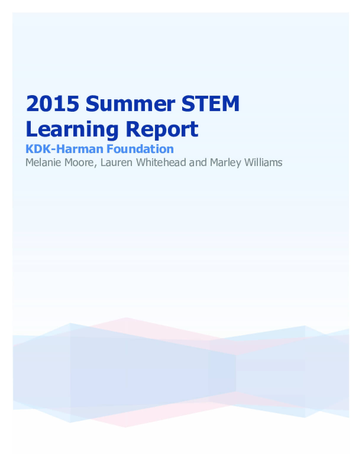 2015 Summer STEM Learning Report